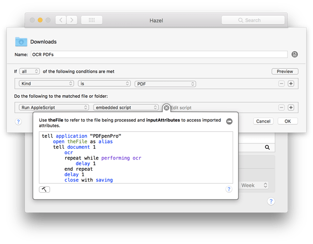 Hazel Rule with AppleScript expanded