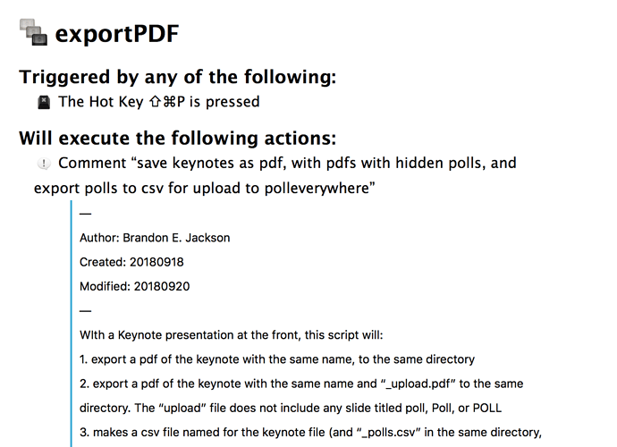 Exporting Keynote to pdf and extracting text from slide for poll