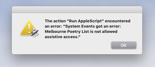 Automator App Assistive Access - System Event Error - macOS