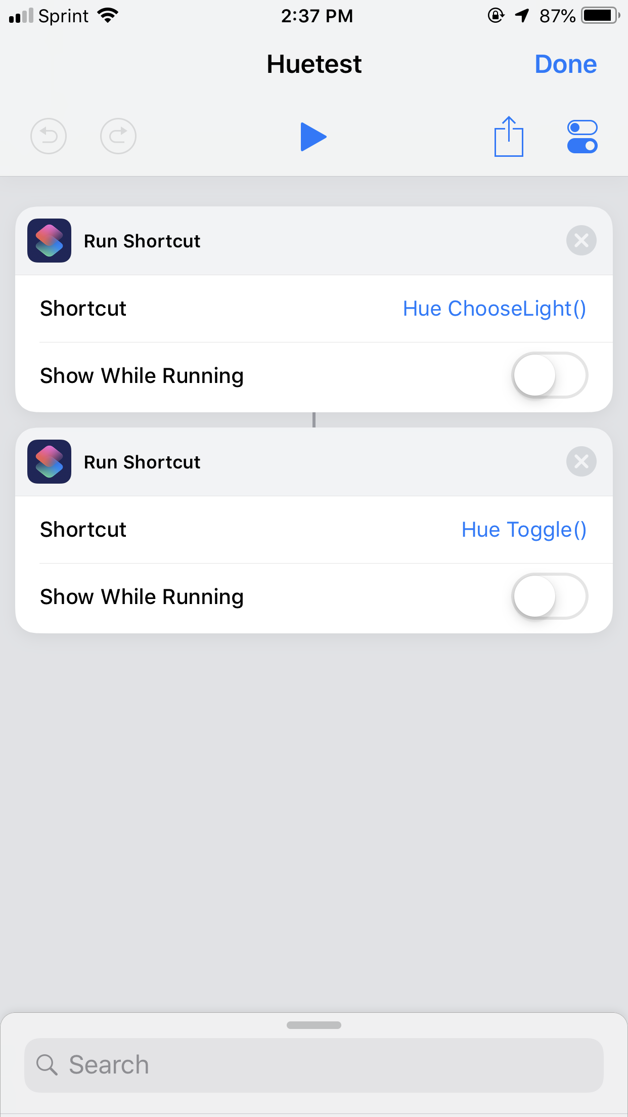 Controlling Philips Hue with Shortcuts - Shortcuts